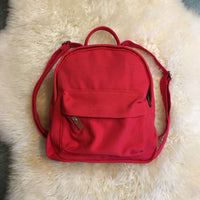 Red Canvas Mini Backpack Purse Shoulder Bag // Hey Tiger Louisville Kentucky