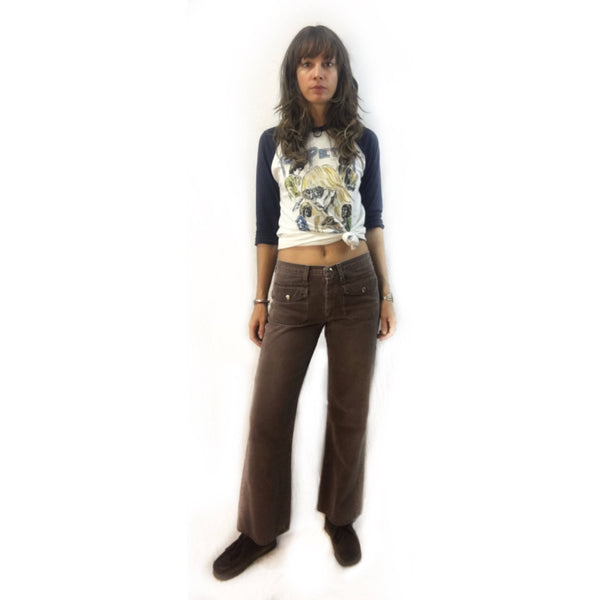 vintage 60s 70s brown denim hip hugger bells bell bottoms // low rise wide legged jeans