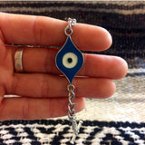 Handmade evil eye bracelet by Hello Stranger // made in USA // pendant and chain bracelet // boho hippie gypsy festival // all seeing eye of