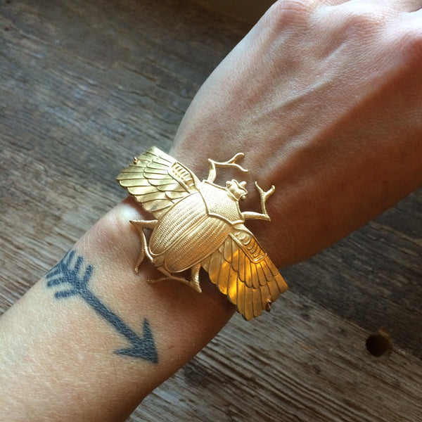 Scarab Cuff Bracelet by Hello Stranger // handmade in the USA // raw brass winged Egyptian beetle // custom size // gift idea