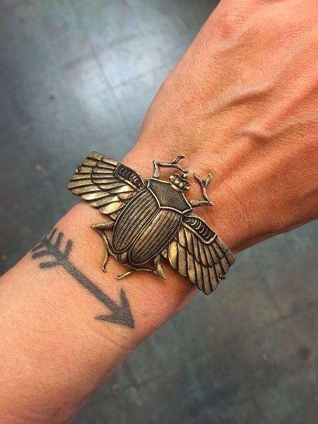 Scarab Cuff Bracelet by Hello Stranger // handmade in the USA // antiqued oxidized brass winged Egyptian beetle // gift idea