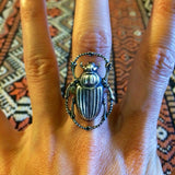 Handmade silver scarab beetle adjustable statement ring by hello stranger // bug insect // unisex gift idea // one size fits most
