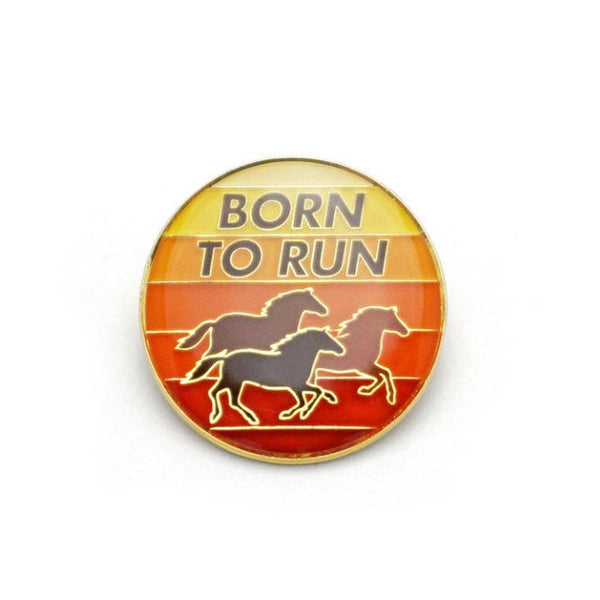 Born to Run Retro Style Enamel pin by Lucky Horse Press // horses sunset