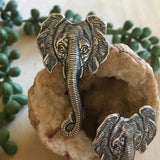 Silver Elephant Head Stud Earrings by Hello Stranger // Handmade elephant jewelry // Made in the USA