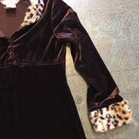 Vintage 90s brown velvet animal print leopard cheetah faux fur dress // youth size 14
