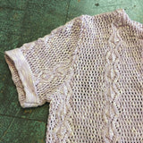 Vintage 70s 80s short sleeve open knit sweater shirt top vest