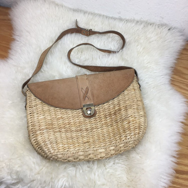 Hey Tiger Vintage 70s MAGID woven sisal straw and leather cross body bag purse