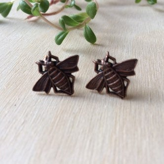 Handmade minimalist bumblebee stud earrings by Hello Stranger // made in usa