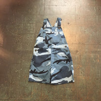 NOS vintage camo blue camouflage bib overalls // youth medium women's XXS