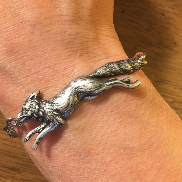 Handmade antique sterling silver plated fox stacking bracelet by hello stranger // made in USA // boho nature animal // gift under 20