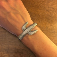 Handmade large silver cactus bracelet // made in USA // pendant and chain bracelet // desert western southwestern gift ideas