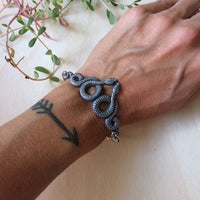 Slithering snake stacking bracelet cuff // handmade in the USA //unique statement piece // vintage style oxidized silver plated brass