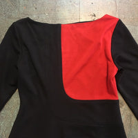 Vintage 80s 90s long sleeve knee length color block dress // size 4 // Mod retro business casual