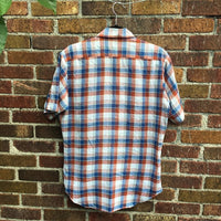 Mens vintage70s 80s Campus Rugged Country Short sleeve Plaid button up // medium 15-15 1/2