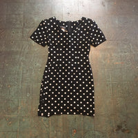 "Hey Tiger Vintage 90s ""my michelle"" black and white polka dot pinafore jumper mini dress // size 3/4"
