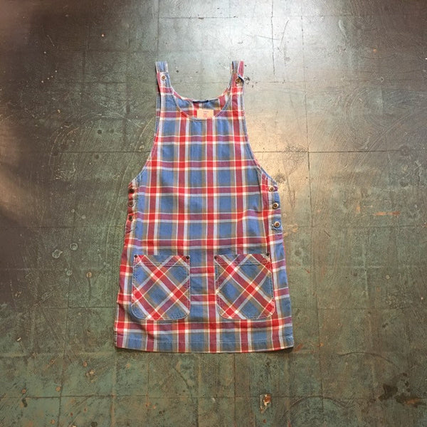 Vintage 60s 70s plaid suspender overall pinafore dress with pockets // size small