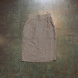 Vintage 80s 90s high waist checkered print silk skirt // size small