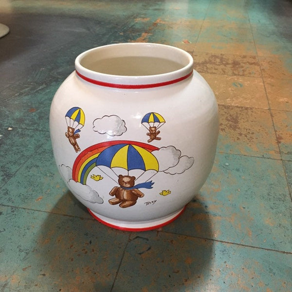 Vintage Rosenthal Netter Made in Italy Terry vase plant pot // parachuting teddy bears // retro kitsch home