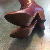 Hey tiger Vintage 70s 80s western leather boots with stacked wood heel // size 7.5 7 1/2
