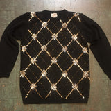 Vintage 80s 90s Afreld Dunner sequin bedazzled black pullover sweater tunic mini dress