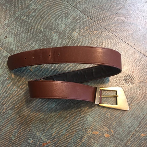 Vintage 80s 90s Ginnie Johansen brown leather belt with bog brass buckle // size medium