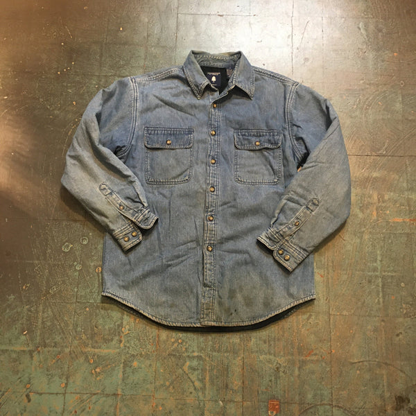 Vintage 80s 90s Roundtree & York flannel lined denim shirt jacket coat // unisex size Medium M