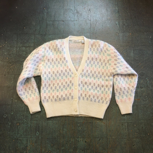Vintage 80s 90s La Moda fuzzy mohair pastel knit sweater button up jumper cardigan // size large