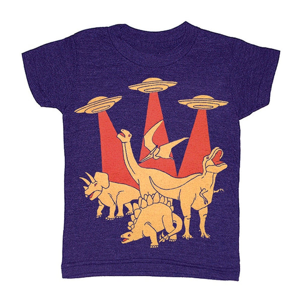 Kid's Aliens vs Dinos t-shirt is printed by hand on a high quality, sweatshop-free super soft tri-blend tee by Gnome Enterprises // hey tiger louisville kentucky