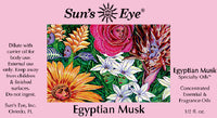 Suns Eye Egyptian Musk Oil is an exotic and sensuous fragrance blend that has sweet and smoky top notes in a Musk base. Hey Tiger Louisville Kentucky