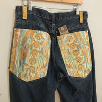 One of a Kind Custom Tapestry denim jeans // 32 X 32 // hey tiger louisville kentucky