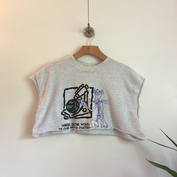 Vintage 80s 90s crew neck Panther crop top tee // One Size // retro made in USA // hey tiger louisville kentucky