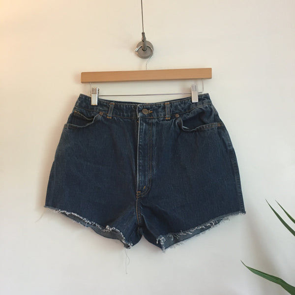 Vintage Chic Ultra high waist denim Cut Off shorts // Size 16 // boho hippie grunge festival retro // hey tiger louisville kentucky