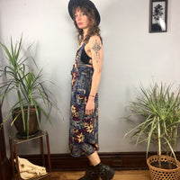Vintage 90s abstract floral button front suspender dress jumper with pockets // size 11/12 //  boho grunge // hey tiger louisville kentucky