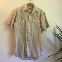Vintage mens retro short sleeve striped pearl snap western oxford // size medium // hipster rocker country western grunge prep cowboy // hey tiger louisville kentucky
