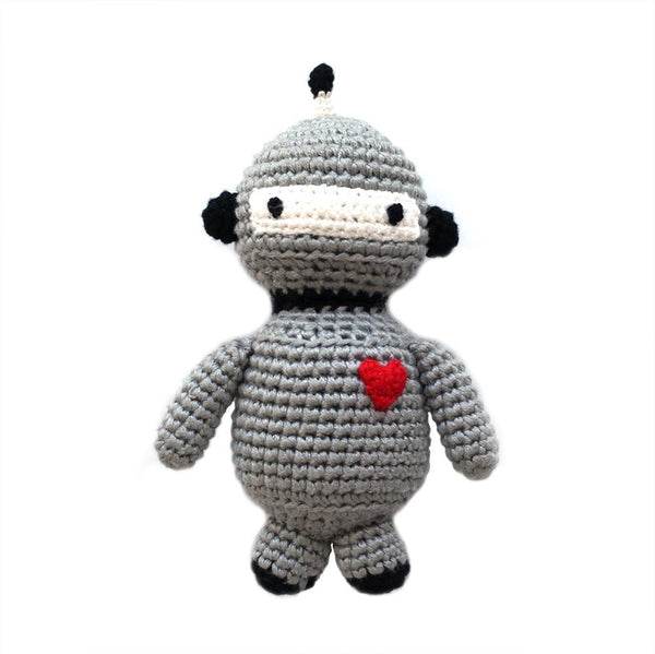 bamboo sustainable crocheted robot rattle // baby gift // cheengoo san francisco // hey tiger louisville kentucky