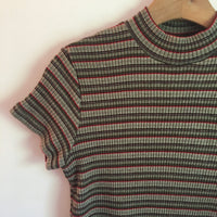 Vintage 90s ribbed Stretchy Knit short sleeve high neck shirt top // retro mock neck mod // hey tiger louisville kentucky