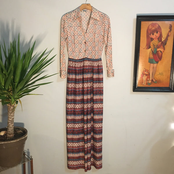 Vintage 70s Groovy long sleeve Button Front Psychedelic Maxi dress // Union Made in the USA // retro boho hippie Gypsy // hey tiger louisville kentucky