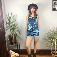 NOS vintage camo blue camouflage bib overalls // youth large women's XS // hey tiger louisville kentucky