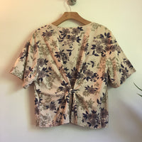 Vintage 80s 90s Floral print Button Up Smock top Blouse // one size // folk prairie festival summer boho hippie // hey tiger louisville kentucky