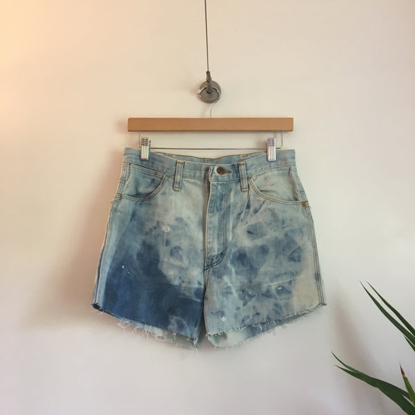 Vintage Unisex Bleach Dyed Wrangler Jeans high waist denim Cut Off shorts // Size 30 inch waist // hey tiger louisville kentucky