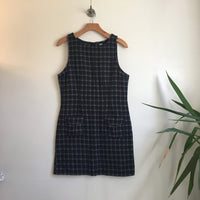 Vintage 90s Wool Blend Plaid Pinafore Jumper Mini Dress // size Small // retro grunge mod // hey tiger louisville kentucky