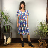 Vintage 80s 90s Daisy floral Print Knee length Smock MuMu Baby Doll dress // Moomoo boho hippie loungewear // hey tiger louisville kentucky