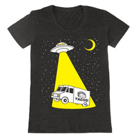 women's Taco Truck Abduction shirt is printed by hand on a high quality, sweatshop-free, vintage inspired tri-blend tshirt by Gnome Enterprises // hey tiger louisville kentucky