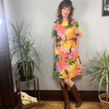 Vintage 60s 70s floral Smock Knee length MuMu dress // Moomoo kaftan caftan boho hippie loungewear // hey tiger louisville kentucky
