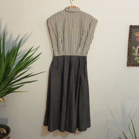 Vintage 50s 60s Nancy Greer Striped Colorblock Secretary dress with Pockets // hey tiger louisville kentucky