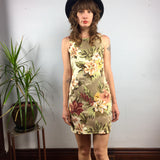 Vintage 90s Floral pinafore jumper mini dress // size 3/4 XS x-small // hey tiger louisville kentucky
