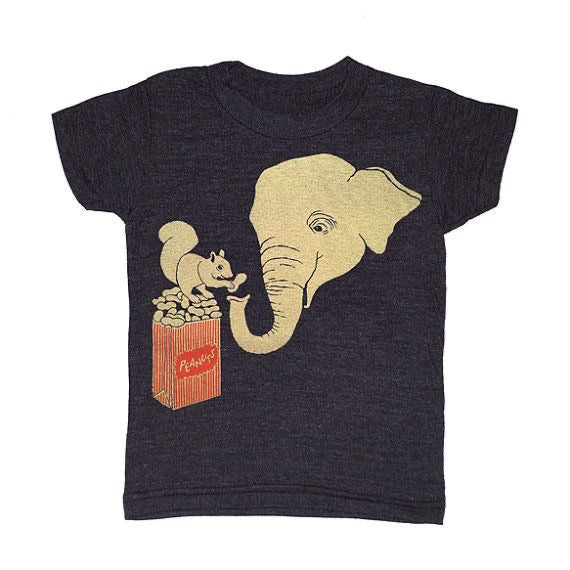 Kid's Elephant & Squirrel t-shirt is printed by hand on a high quality, sweatshop-free super soft tri-blend tee by Gnome Enterprises // hey tiger louisville kentucky