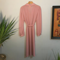 Vintage 70s 80s Byer Too! Semi Sheer Blush long sleeve dress // Size 11 retro style // hey tiger louisville kentucky