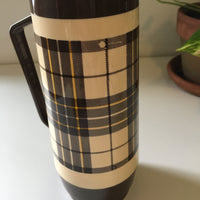 Vintage brown plaid travel thermos by THERMO SERV // retro kitsch home decor // hey tiger louisville kentucky