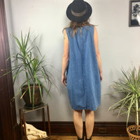 Vintage 90s Plus Size denim suspender dress jumper pinafore // retro grunge boho overalls // hey tiger louisville kentucky